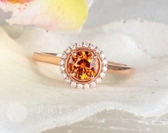 Orange Sapphire Ring Rose Gold Engagement Ring Diamond Halo Gemstone Ring Wedding Anniversary September Birthstone