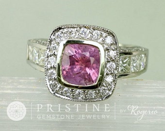 Pink Sapphire Vintage Inspired Diamond Halo Ring, 2.2ct Cushion Shape Pink Sapphire Ring