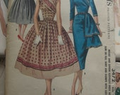 Vintage Sewing Pattern 1950 Wrap Dress Full Skirt Slim Skirt with Drape
