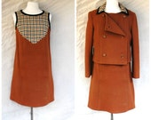 Reserved for Britney 1960s British Invasion Mod brown wool mini dress / matching jacket - 60s