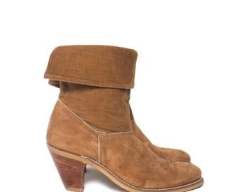 40% off Sale 6 B | Women's High Heel Laredo Brown Suede & Corduroy Western Boots