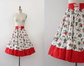 CLEARANCE vintage 1950s novelty skirt // 50s red roses corset front skirt