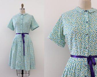 vintage 1960s dress // 60s floral cotton day dress