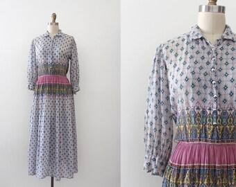 vintage 1950s dress  // 50s Indian cotton dress day dress