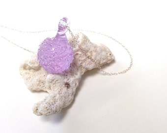 Charm Necklace, Seaglass Jewelry, Crystal Pendant Necklace, Beach Glass, Lavender Large