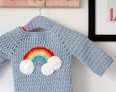 Crochet baby sweater - Clouds and rainbow