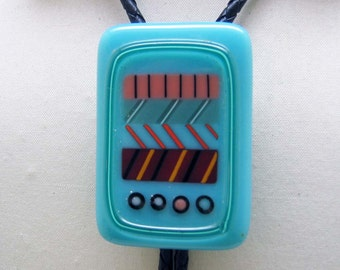 Bright Fused Aqua Glass Bolo Tie, 1980s Modern