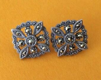 Elegant Sterling Silver and Marcasite Pierced Post Earrings