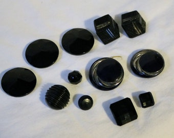 Buttons Black Vintage Assorted Modern Art Deco Round Square