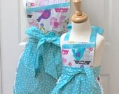 Reversible Mommy and Me Retro Apron Set Sing Song Birds with Polka Dots on Turquoise Mini Aprons