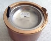Vintage 1960 Duk-it Metal ashtray.  In original box.  Unused.  Copper tone.  Modernist, Groovy, Spaceage.  Eames  Era.