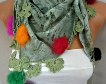 Almond Green Scarf Winter Accessories Shawl Scarf Cowl Scarf Lace Scarf Gift Ideas For Her Women Fashion Accessories Christmas Gift