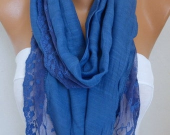 Blue Lace Scarf, Summer Shawl,Wedding Scarf, Cowl Scarf, Bridal Accessories, Bridesmaid Gift, Gift Ideas For Her, Women Fashion Accessories