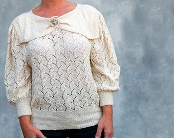 Hand knitted vintage 40s style sweater with handmade brooch