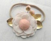 Wool Felt Pom Flower Headband or Hairclip- Off-White and Blush with Gold Leather - Newborn Baby Photoprop - Infant - Toddler - Adult