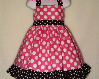 Minnie Mouse/ Halter Dress/ Pink Polka Dots / Disney/ Disney Inspired/ Girl / Toddler / Custom Boutique Clothing