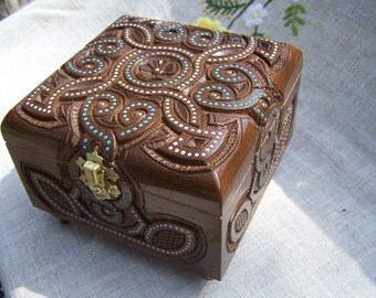 Jewelry box Wooden box Ring box Wood carving Wood box Jewellery box Jewelry box wood Boite bijoux Wood ring boxes Jewelry organizer wood B52