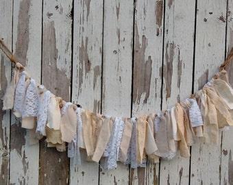Fabric Garland, Rag tie Garland, Swag garland, Photo Prop, Birthday Party, Mantel decor, Vintage and Shabby Cottage decor
