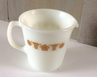 Vintage Pyrex Butterfly Gold Creamer/ Milk Glass Butterfly Pattern