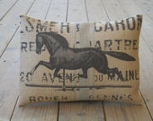 French Horse Burlap Pillow, Weathervane pillow, Horses, Farmhouse Pillows,  INSERT INCLUDED