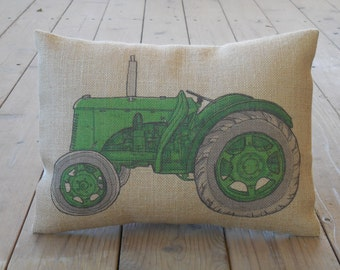 Green Tractor Burlap Pillow, Kids, mighty machine, INSERT INCLUDED