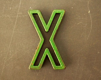 "Vintage Industrial Letter ""X"" Black with Green and Red Paint, 2"" tall (c.1940s) - Monogram Display, Shadow Box Letter, Art Supply"