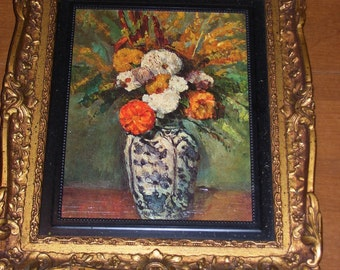 Picture of Flowers in ornate Gold Plastic Frame