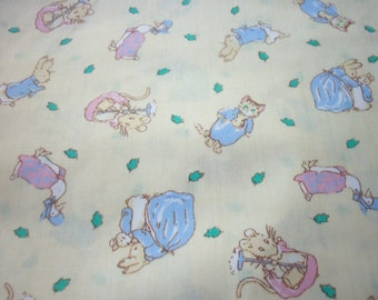 Peter Rabbit  Fabric Pale Yellow Background Rare and Hard To Find New By The Fat Quarter