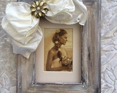Wedding Frame Bow Rustic Jewel Barn Country Beach Personalized Gift White Ivory Neutral Bling