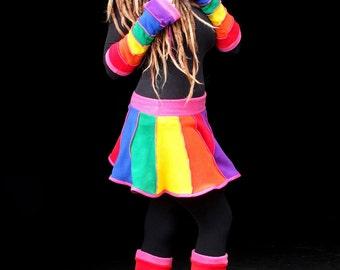 Rainbow fleece 'Telmandolle' Mini skirt.