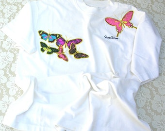 Beautiful Embroidered Butterflies on White T-shirt, Maxe Waves, sz XL, beach coverup, sleep shirt, purchased in Philippines