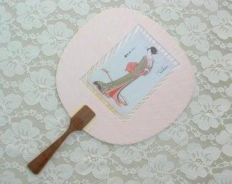 SUMMER SALE Traditional Japanese Geisha Uchiwa Fan, old ukiyo-e (woodblock) print, shamisen musical instrument, summer fan, vintage unused