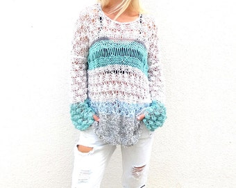Pastels Mixed Sweater. Seafom Color Combo.