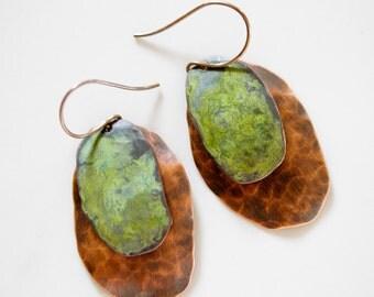 Rustic Copper Patina Earrings / Organic Earrings / Deeply Aged / Copper Earrings / Patina Earrings / Rustic Earrings / Fall 2016