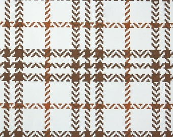 Retro Wallpaper by the Yard 70s Vintage Wallpaper - 1970s Brown and White Plaid