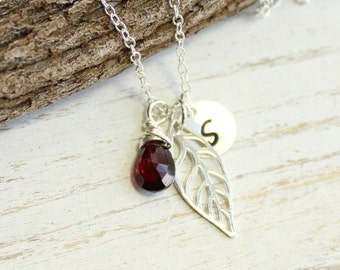 Sterling Silver Leaf, Initial, Birthstone Trio Necklace