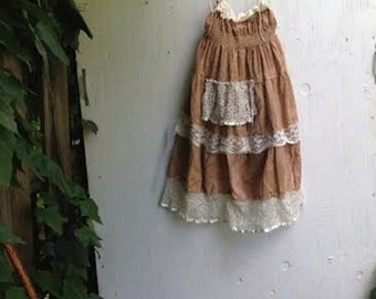 fairy Boho lace flower girl tan ecru shabby ivory gauzey rustic off white princess eco gypsy ecru dress