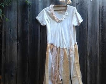 calgary stampede cowgirl rodeo shabby boho fairy eco anthropologie like cotton lace tattery cowgirl boho girl gypsy ooak tee dress tunic