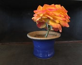Tiny pottery ikebana ~ Sweet hand-made tiny vase ~ hand-thrown pottery ~ blue and yellow glazes