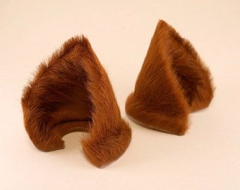 Copper Brown Fur Leather Cat Ears Nekomimi Cosplay Furry Goth Fantasy LARP Fairy Kitten Pet Play