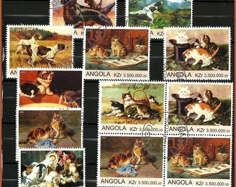 Cat and dog stamps, vintage collectable postage stamps, also use for scrapbooking