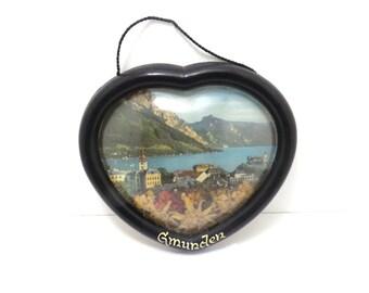 Gmunden Austia souvenir heart picture, town lake flowers, wall hanging, vintage
