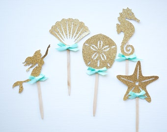 Gold Under the Sea Mermaid Cupcake Toppers- Seahorse, Mermaid, Shell, Sanddollar, Party Decorations, 10 CT