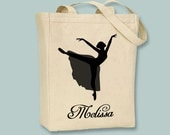 Dancer, Ballet, Ballerina on Pointe Silhouette Personalized Canvas Tote - selection of sized and optional personalization