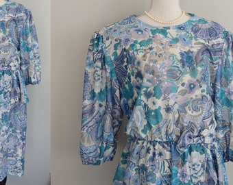 80s vintage Made in USA Drapy Peplum Waist Boho Floral Slouchy Secretary Dress  Size XL