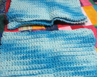 Set of 4 Crocheted Blues Variegated Dish Cloths...1640h
