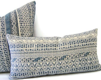 Indigo Pillows - Hakan Pillows - Blue Pillows - Navy Pillow Cover - Indigo LUMBAR Pillow - Cushion Covers - Throw Pillow