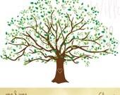 Large Family Tree Graphic, Family Tree Image, Clipart Natural Looking Tree, Leafy Green Tree, Evergreen Tree, Wedding Invitation Tree, Oak