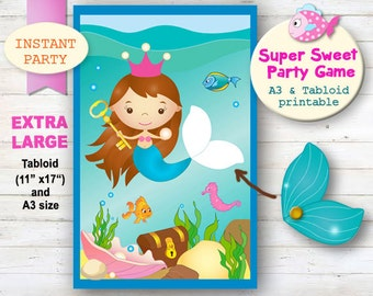 Mermaid Party Game, Pin the Tail on the mermaid, Mermaid Party Decor, girl Party Games, Printable Mermaid Party, Undersea Party, Beach Party