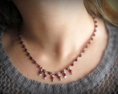 Garnet Red Droplet Necklace, Artisan Sterling Silver Hammered Drops, Boho Chic Crochet Jewelry